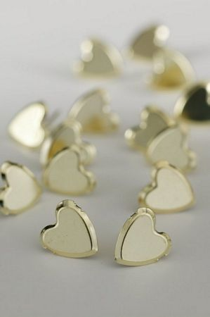 Large Plain Hearts Gold Studs